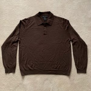 Bloomingdale's Brown Collared Sweater